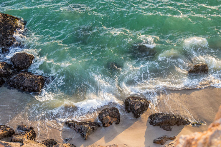 EyeEmNewHere Beach Day Motion Nature No People Outdoors Power In Nature Rock Rocky Coastline Sea Solid Water The Great Outdoors - 2018 EyeEm Awards