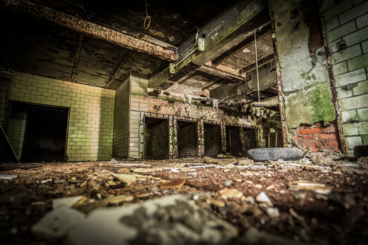 abandoned, architecture, damaged, built structure, obsolete, building, run-down, bad condition, old, decline, deterioration, dirt, weathered, no people, history, ruined, messy, indoors, broken, house, dirty, brick, flooring, ceiling, demolished