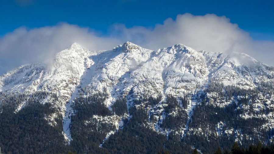 Panoramic view of snowcapped mountain against sky