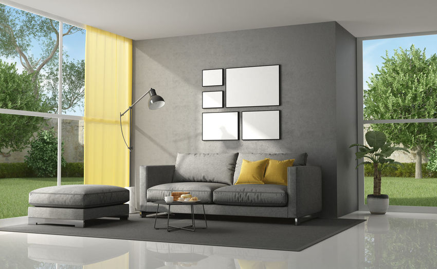 Furniture Window Sofa Architecture Plant Domestic Room Indoors  Home Interior Living Room No People Pillow Modern Home Showcase Interior Day Coffee Table Flooring Garden Yellow Gray Villa