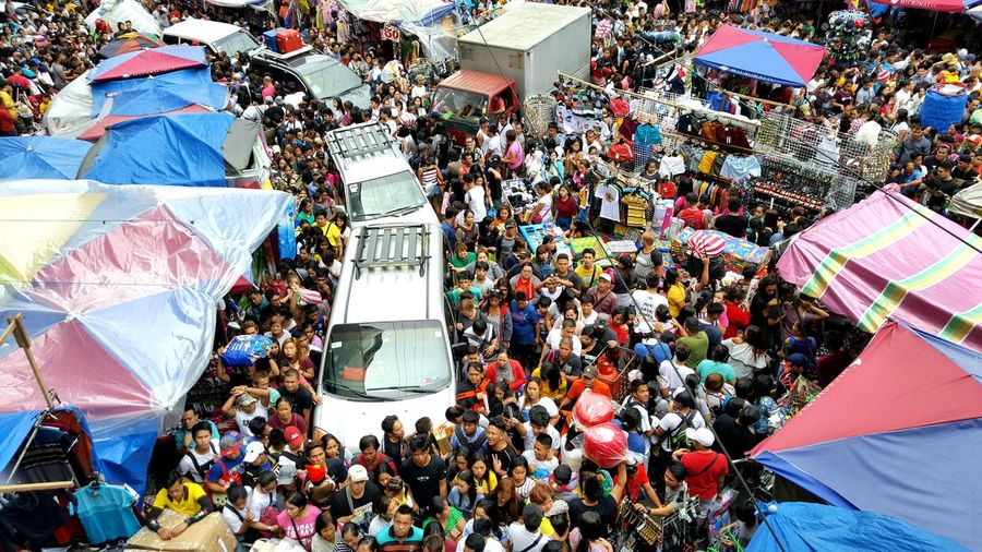 High angle view of crowd in city