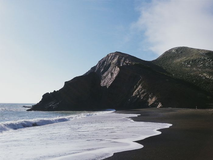 Surf On Shore At Beach Against Mountains