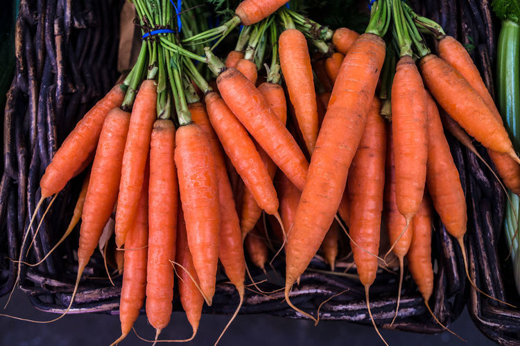 High angle view of carrots on the market stall