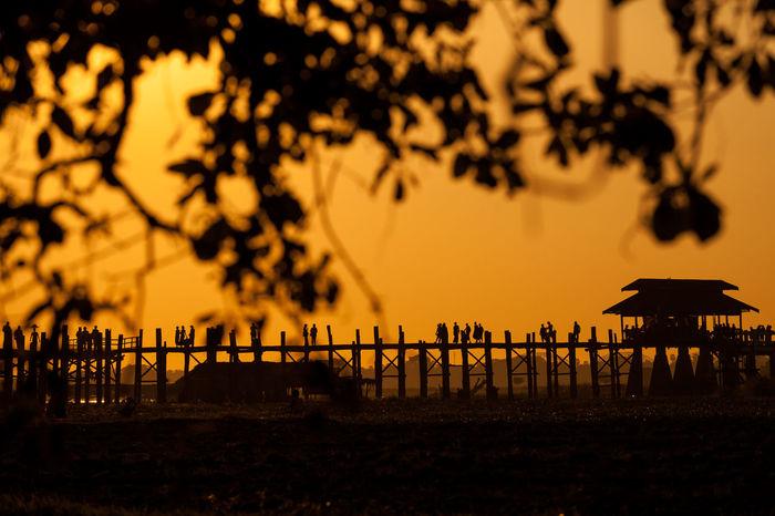 Silhouette of people on U-bein Bridge in Mandalay, Myanmar during evening. Bridge Burma Evening Golden Mandalay Myanmar People Silhouette Sunset Tourist Tourist Attraction  Ubeinbridge Warm