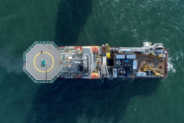 Top View of Offshore oil and gas sub-sea construction and support vessel. Travel Ship Industry No People Freight Transportation Nature High Angle View Mode Of Transportation Transportation Nautical Vessel Water Sea Offshore Offshorelife Offshore Platform