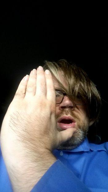 One Person Mustache Hair Blue Shirt Men Black Background Hand Movement Caucasian Suprise Facial Experiments Facial Hair Human Hand Black Background Portrait Headshot Studio Shot Human Face Eyes Closed  Pain Close-up