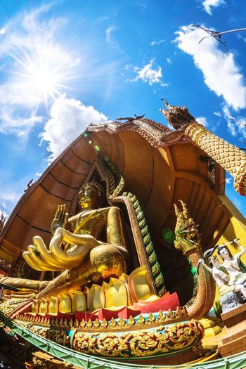 Religion Sky Architecture Spirituality Business Finance And Industry Cloud - Sky Gold Colored Statue Multi Colored Gold Place Of Worship Blue No People Outdoors Day Wallpapers ศรัทธา ความเชื่อ Faith วัด Backgrounds พระพุทธรูป