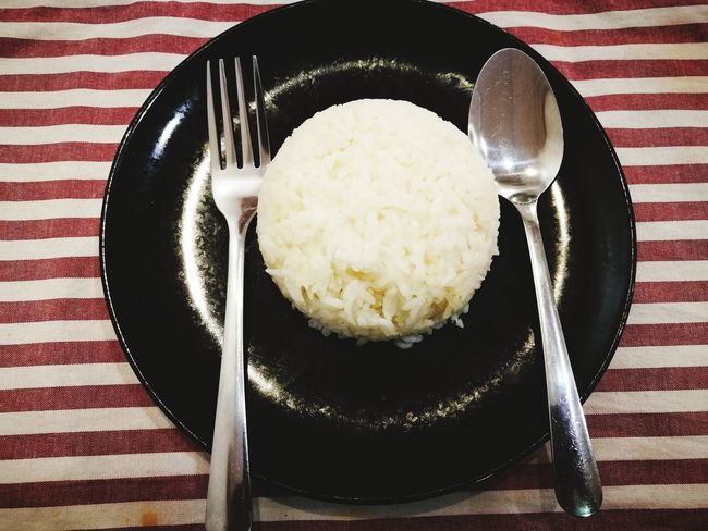 Plate Healthy Eating Comfort Food Black & White Spoon And Fork Lines