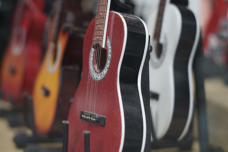 Close-up of classical guitars