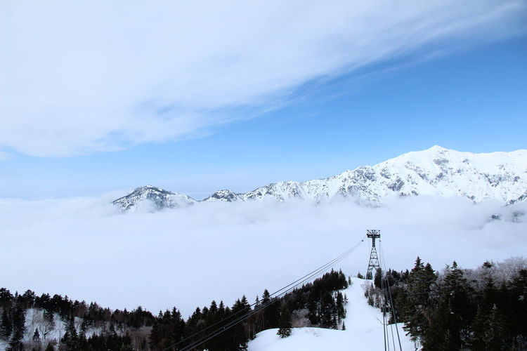 View Of Ski Lift Cables On Snow Covered Mountain