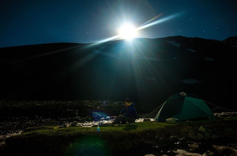 High angle view of tent on mountain against sky
