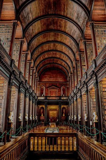 Trinity College Library Trinity College Library Trinity College & Book Of Kells Library Architecture Built Structure Indoors  Arch Ceiling Building Spirituality No People History Architectural Column Architecture And Art