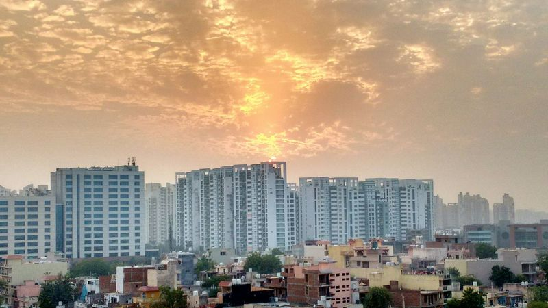 Sunset Evening Dusk Gurgaon balcony view Magic Sky Clouds Sun And Clouds Urban Life Rich And Poor