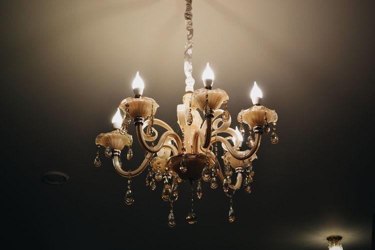 Illuminated Hanging Chandelier Lighting Equipment Close-up No People Indoors  Luxury