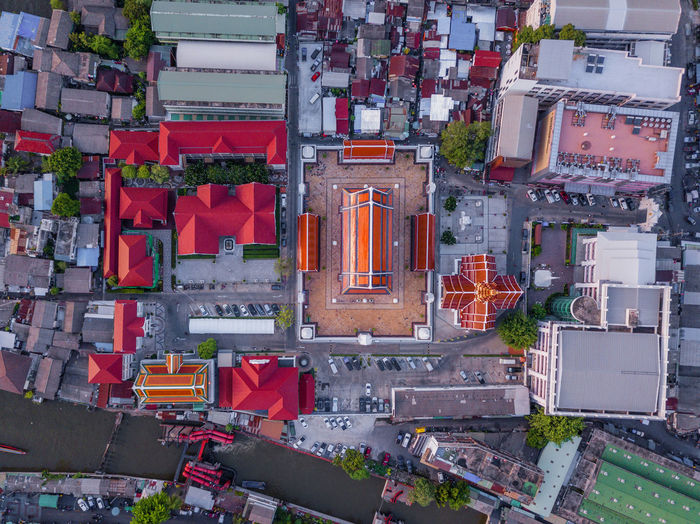 High angle view of street amidst buildings