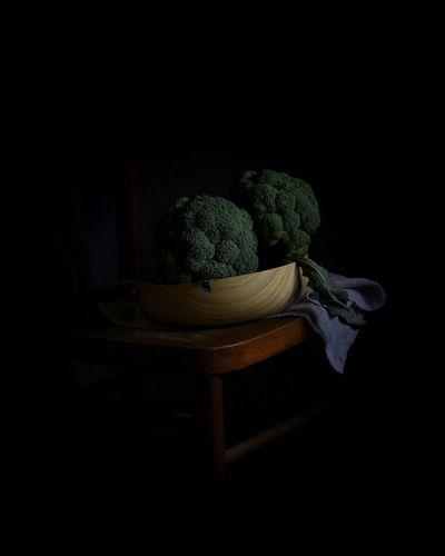 EyeEmNewHere EyeEm Best Shots Vegetable Broccoli Healthy Eating Raw Food Black Background Freshness Copy Space Food And Drink Food Table Indoors
