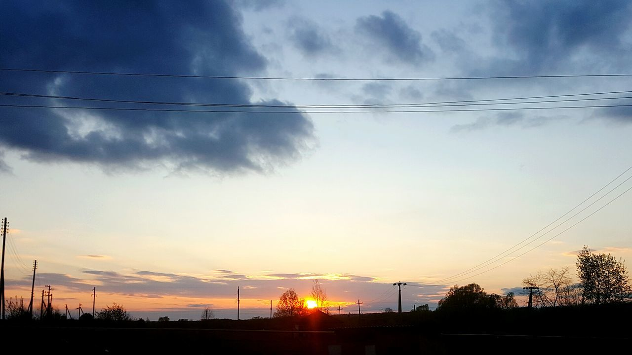 cable, sunset, sky, power line, silhouette, nature, power supply, electricity pylon, cloud - sky, no people, connection, scenics, beauty in nature, electricity, tree, outdoors, tranquility, low angle view, telephone line, technology, day