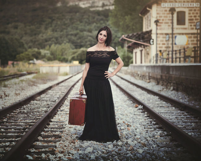 Beautiful Elégance Holidays Hope Lifestyle Love Pensive Romantic Train Tracks Travel Beautiful Woman Beauty Forest Girl Landscape Outdoors People Portrait Pretty Pretty Girl Sensual_woman Style Suitcase Train Young Women