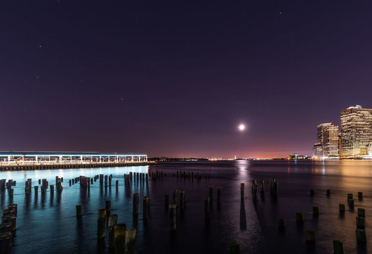 Scenic view of calm sea at night
