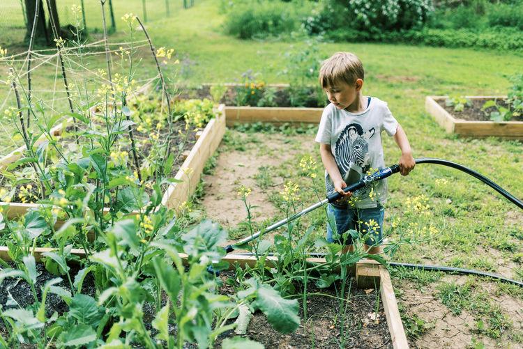 Boy standing in garden