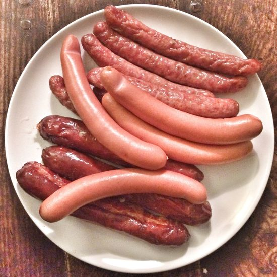 Plate of cooked sausages , Vienna, Austria. Freshness Food Food And Drink Plate Sausage Close-up Indoors  Sausages! Pork sausage Food And Drink Meat! Meat! Meat! Meaty  grinzing Travel Austrian food