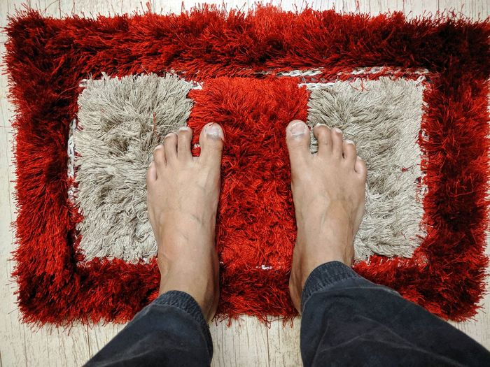 Low section of man standing on rug