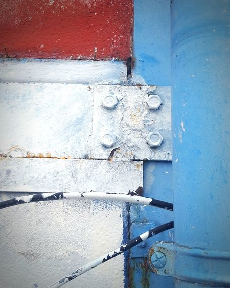 Outdoors Day Built Structure No People Architecture Building Exterior Close-up Industry Blue Red Textured