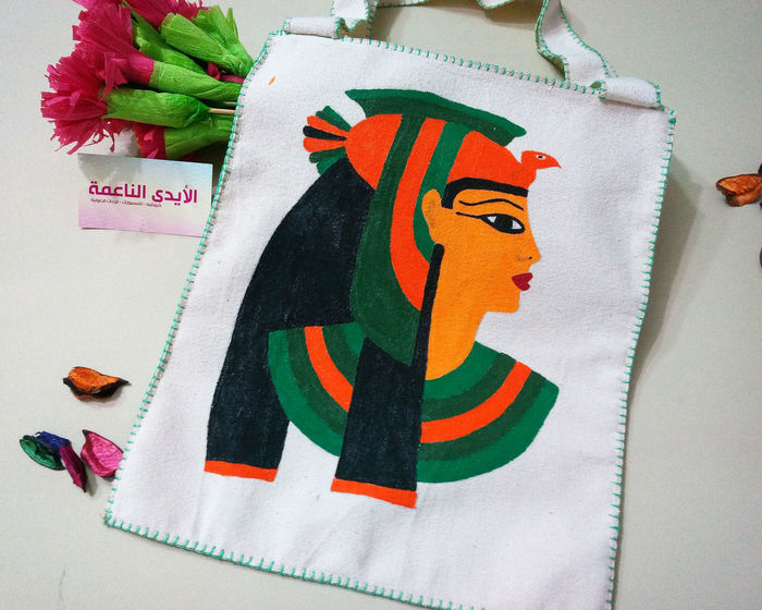Bag Lady Egyptian Style Fashion Stories Hand Drawing Hand Made For You Pharaonic Pharaonic Style Cotton Textile Egyptian Museum Fashion Photography Hand Made Hand Sewing Pharaonic Art Queen Of Egypt Soft Hands Craft