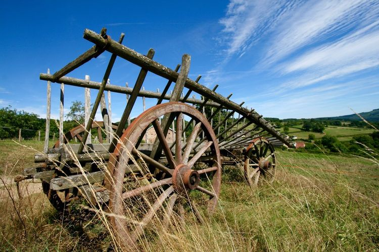Old Cart On Grassy Field Against Blue Sky