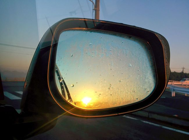 Paint The Town Yellow Sky Reflection Sunrise Morning Morning Morninglight Sunrise Car Mirror Wet Outdoors No People