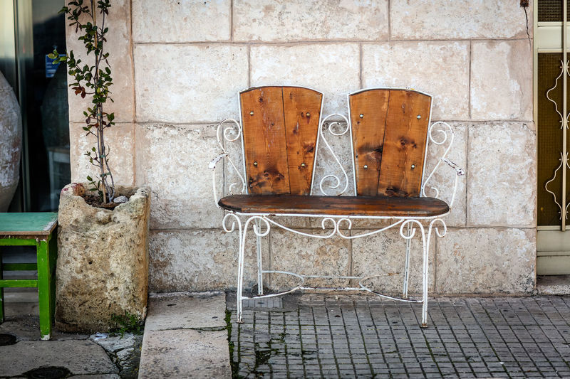 Bench Ostuni Ostuni Italia Ostuni The White City No People Day Seat Wall - Building Feature Outdoors Street Cobblestone Chair Old Wall Travel Destinations Travel Apúlia Italy Wrought Iron