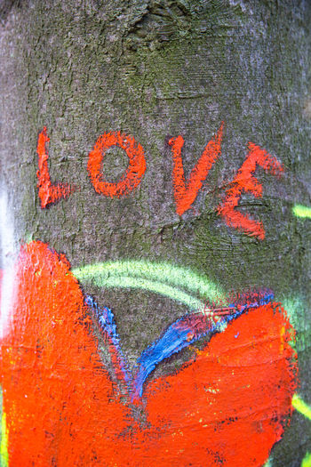 Orange Color Multi Colored Creativity Art And Craft No People Paint Wall - Building Feature Close-up Outdoors Day Graffiti Full Frame Painted Text Communication Backgrounds Tree Trunk Love Love ♥ Word In Love