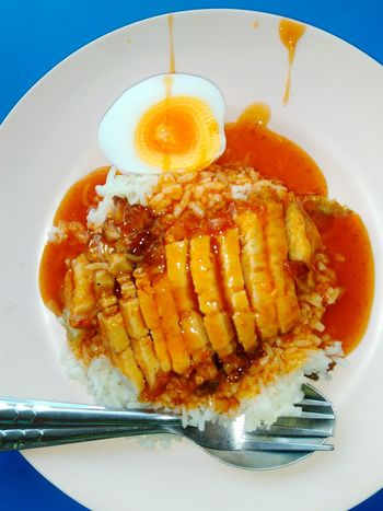 Food And Drink Directly Above No People Crispy Pork Egg Yolk Ready-to-eat Healthy Eating Cooked Chinese Food Food Rice Grain Thailand Food Thailand Yummy Delicious