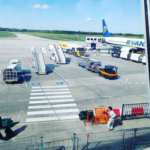 at eindhoven airport. panorama wiew Airplane Sky Horizon Over Water Airport Runway Airport Terminal Airways Aeroplane Aircraft Wheeled Luggage Arrival Departure Board First Eyeem Photo