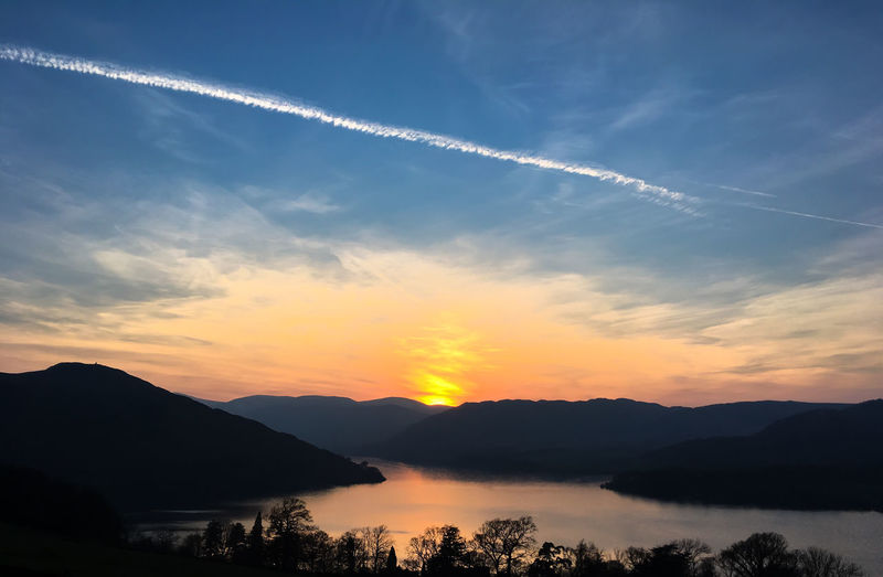 Evening sunset over Howtown on the side of Ullswater. Cumbria Evening Sunset Howtown Lakedistrict Sunset Ullswater