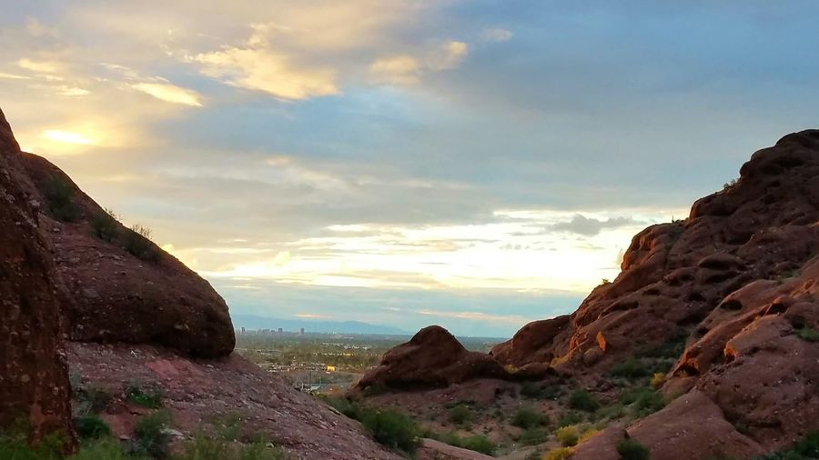 A view to the city. Phoenix peeking out! Sunset Landscape Tourism Rock - Object Cloud - Sky Travel Destinations No People Beauty In Nature Outdoors Sky Scenics