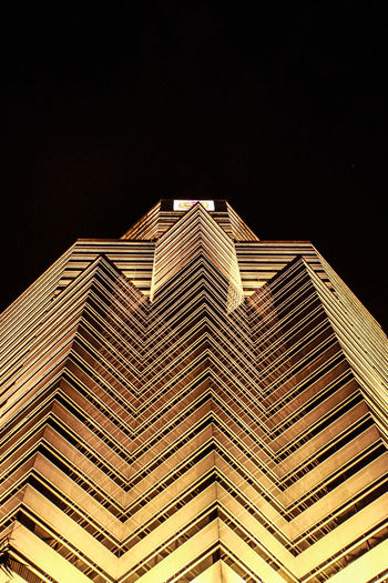 The Building of gold Architecture Building Exterior Built Structure City Low Angle View Modern Night No People Outdoors Sky Skyscraper Travel Destinations