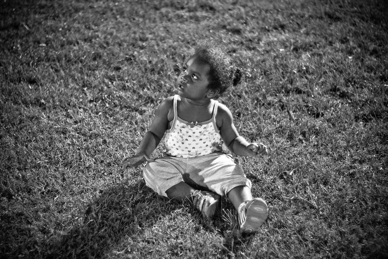 Baby Girl Black And White Photography Child Portrait Children Photography Childrens Portraits Facial Expressions Field Grassy Portrait Photography Sitting