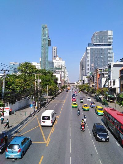 petchaburi street in bangkok city Overpass View City Town Metropolis Architecture Building Exterior Building Tower Condominium Condo Life Traffic Street Road Trees View Tall - High Tall City Modern Skyscraper Cityscape Road Car City Life Street Clear Sky High Angle View Yellow Taxi Overpass