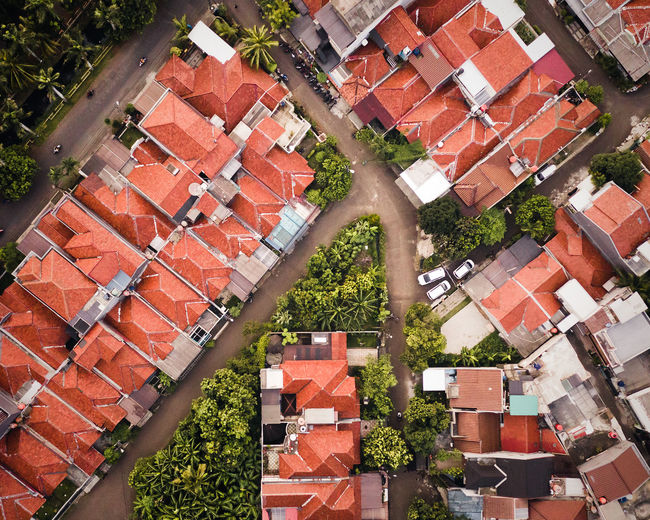 Architecture Building Exterior Built Structure Building Residential District Roof High Angle View Day No People House Plant City Outdoors Nature Red Roof Tile Brick Wall Full Frame Tree Apartment