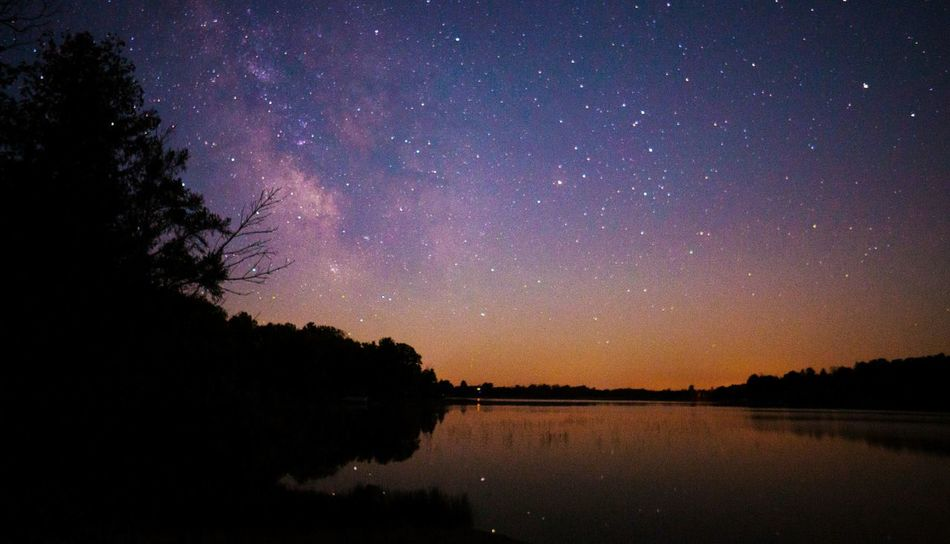 Milky Way over restful Susan Lake. Astrophotography Nightphotography Nightshot Milkywaygalaxy Late Night Night Sky Water Reflections Stargazing Lake Lakescape Under The Milky Way The Countryside At Night Landscapes With WhiteWall Photography In Motion Fine Art Photography Overnight Success