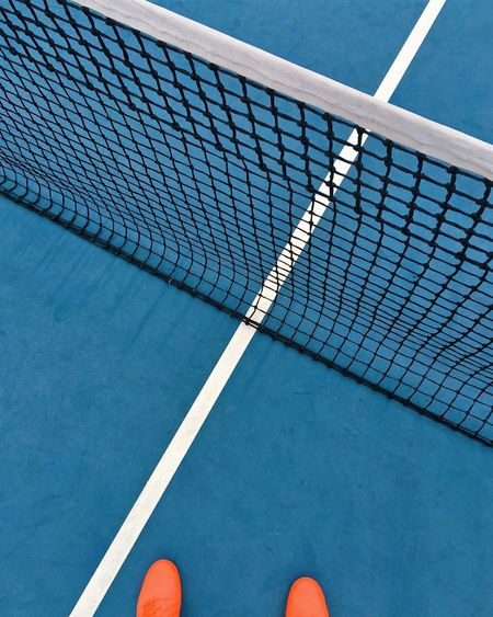 Cross the line Blue Color Minimalism Colorful Sport High Angle View Tennis Court Day Tennis Net 17.62° Low Section Outdoors Net - Sports Equipment Personal Perspective No People Pattern Tennis Ball Single Line Yard Line - Sport Dividing Line Body Part Track And Field Blue