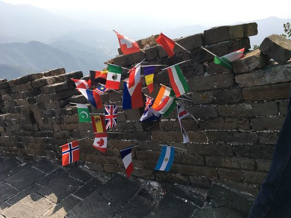 Country Flags Day Great Wall Of China Multi Colored No People Outdoors Red Tourism Tranquility