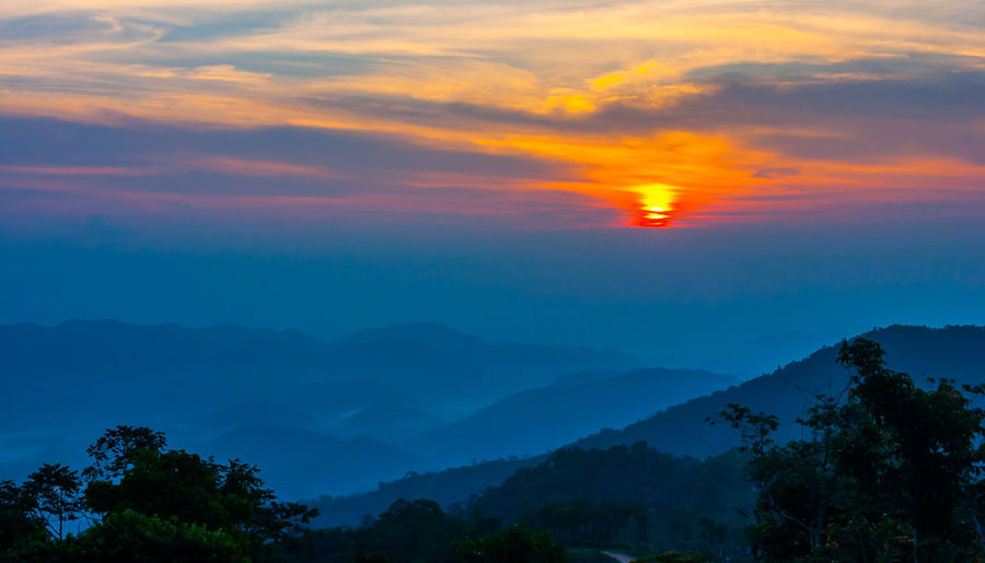 Sunset at mountain in Thailand Beauty In Nature Nature Outdoors Scenics - Nature Sky Sunset Treetop Spruce Tree Coniferous Tree Fir Tree Frost Snowdrift Polar Climate Birch Tree Arctic Forest Fire Pine Wood Evergreen Tree Glade Needle - Plant Part Sky Only Atmospheric Mood Foggy Dramatic Sky Forked Lightning Pine Woodland Thunderstorm Lightning Storm Cloud