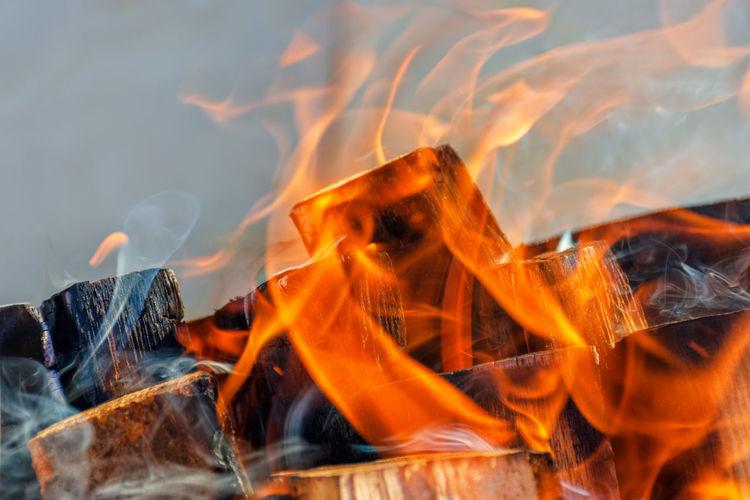 Burning flame close up