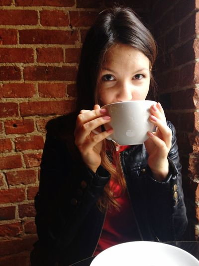 Coffee Coffee Time Drink Drinking Cafe Capuccino Looking At Camera Big Cup Of Coffee Big Cup Cup Of Coffee Weekend My Favorite Breakfast Moment Girl Young Women Breakfast Morning Moscow Life