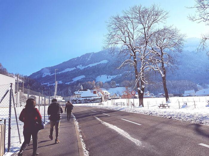 Long way to go. Winter Switzerland Alps Broc Walking Super Cold Snow Mountain Cold Temperature Winter Tree Sky