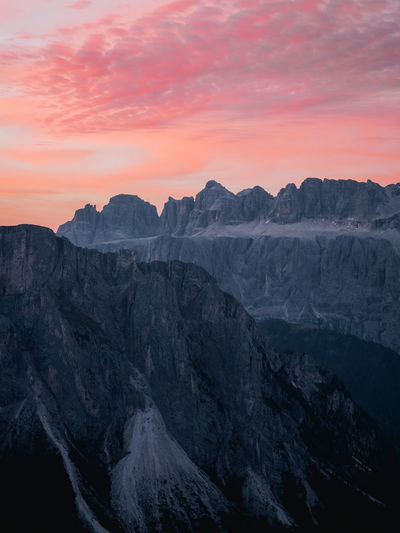 A .beautiful coloured surise over the Italian Dolomites Week On Eyeem Mountain Dolomites, Italy Dolomites Beauty In Nature Mountain Nature Mountain Peak Environment Mountain Range Sky Scenics - Nature No People Outdoors Sunset Olympus Em1 Mk2 Travel Tranquility Landscape Rock - Object Tranquil Scene Geology Formation