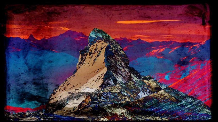 Abstract Outdoors Nature Mountain Mountain Peak Matterhorn  Colored Millennial Pink