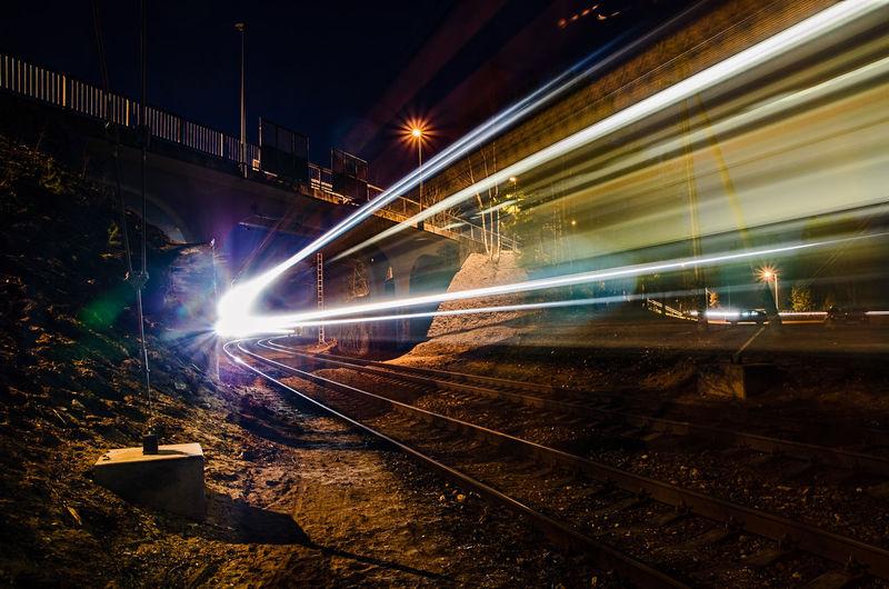 Long exposure of illuminated train at night